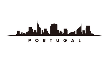 Wall Mural - LISBON Portugal skyline and landmarks silhouette vector