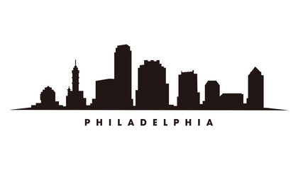 Wall Mural - Philadelphia skyline and landmarks silhouette vector