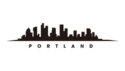 Wall Mural - Portland skyline and landmarks silhouette vector