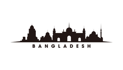 Wall Mural - Dhaka Bangladesh skyline and landmarks silhouette vector