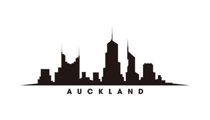 Wall Mural - Auckland skyline and landmarks silhouette vector