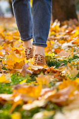 women shoes in autumn foliage