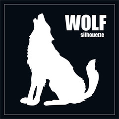 Vector illustration of a wolf, engraving. Howling wolf silhouette