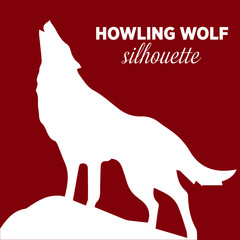 Vector illustration of a howling wolf, engraving. Howling wolf silhouette