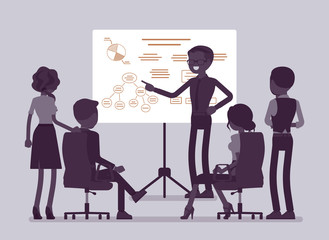 Business briefing in office. Meeting for employees, new project information and instruction, managers brainstorming, negotiating about agreement or contract. Vector illustration, faceless characters