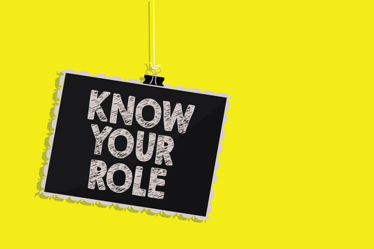 Writing note showing Know Your Role. Business photo showcasing Be clear of one responsibilities in a job or situation Hanging blackboard message communication sign yellow background