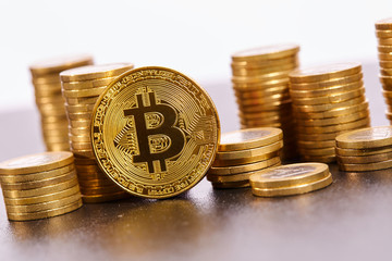 golden bitcoin, conceptual image for crypto currency