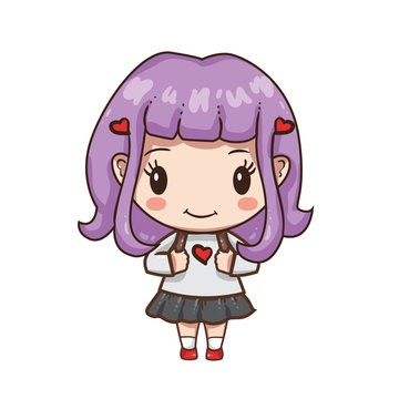 Vector illustration of cute chibi character isolated on white background.  Young school girl in white blouse and blue skirt.