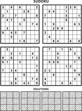 Four sudoku puzzles of comfortable (easy, yet not very easy) level, on A4 or Letter sized page with margins, suitable for large print books, answers included. Set 10.