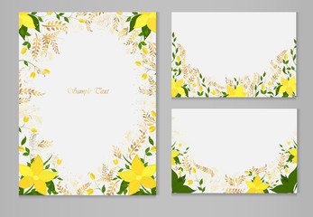 Set of vector cards with yellow flowers and golden plants on a gray background.