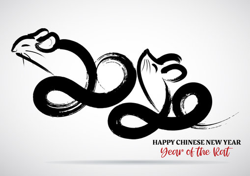 Greeting card design template with chinese calligraphy for 2020 New Year of the rat
