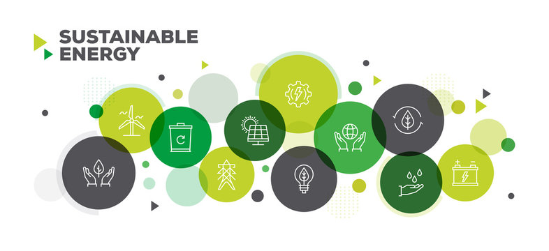 SUSTAINABLE ENERGY ICONS ON MULTI COLORED BACKGROUND BANNER DESIGN