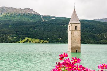Reschen, Turm, Reschensee, Reschenpass, Passstrasse, Vinschgau, Alpen, Südtirol, Sommer, Italien