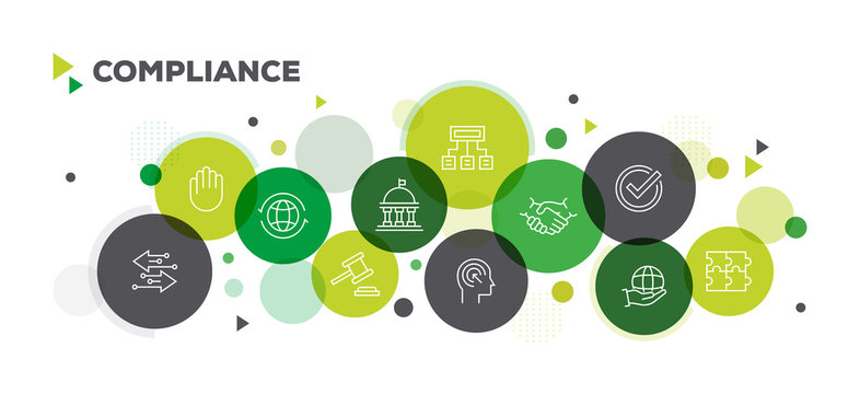 COMPLIANCE ICONS ON MULTI COLORED BACKGROUND BANNER DESIGN