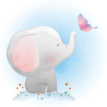 Cute Baby Elephant  Playing with butterfly