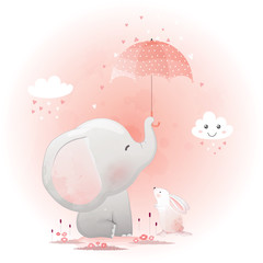 Cute elephant and bunny with umbrella cartoon hand drawn vector illustration.