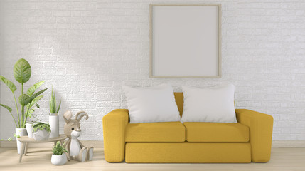 yellow sofa on white brick wall on floor wooden minimal design.3D rendering