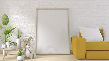 yellow sofa and poster frame on white brick wall on floor wooden minimal design.3D rendering