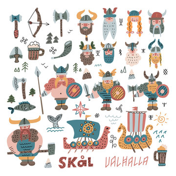 Big Set withmany hand drawn flat vikings, faces, equipment and ships in cartoon style. Funny vector illustration for kids. Viking boat norway drakkar doodle icons with hand scandinavian lettering.