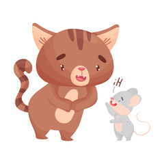 Mouse welcomes the cat. Vector illustration on white background.