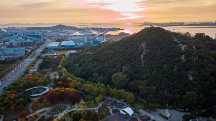 Aeria view of incheon industry park.South Korea.