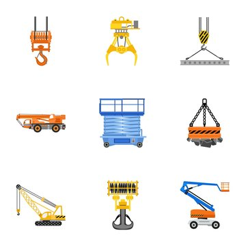 Mobile lift machine icon set. Flat set of 9 mobile lift machine vector icons for web design isolated on white background