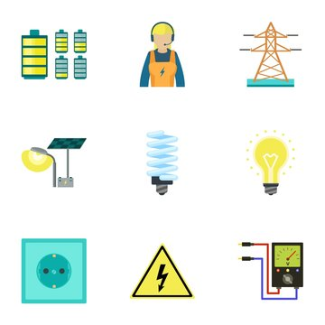 City electric energy icon set. Flat set of 9 city electric energy vector icons for web design isolated on white background