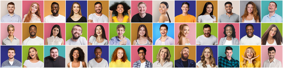 Collage of smiling and happy multiethnic people Wall mural