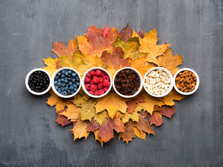 Wall Mural - Seasonal autumn background. Frame of colorful maple leaves, raisins, nuts and berries over grey