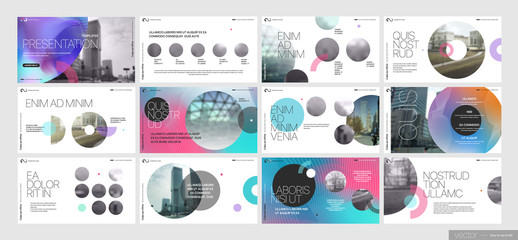 Covers templates set with graphic geometric elements. Applicable for flyer, cover annual report, placards, brochures, posters, banners. Vector illustrations. Wall mural