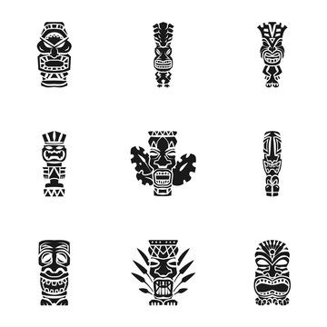 Aztec idol icon set. Simple set of 9 aztec idol vector icons for web design isolated on white background