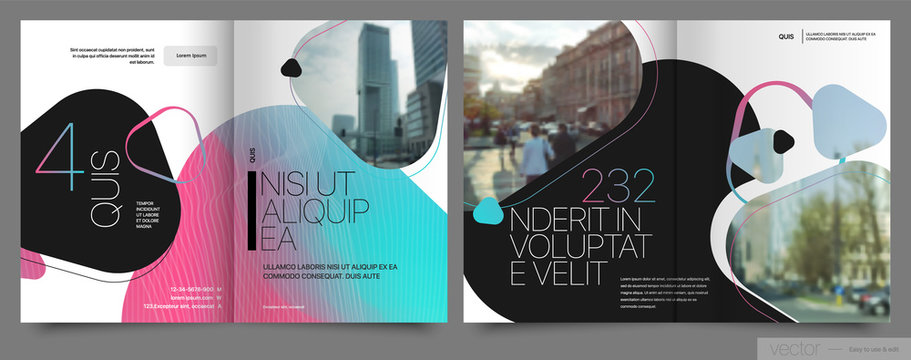 Covers templates set with graphic geometric elements. Applicable for flyer, cover annual report, placards, brochures, posters, banners. Vector illustrations.