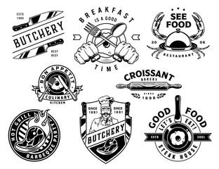 Vintage cooking monochrome designs set