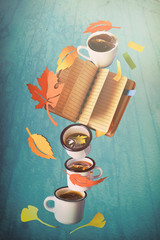 Creative concept on making plans for Autumn with notebook, coffee and Fall leaves