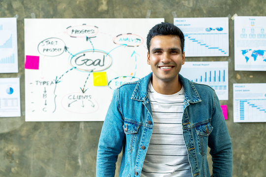 Portrait of Happy indian man in jeans jacket standing in creative office workplace with document plan on wall background. Headshot of smiling freelancer leaning on table with feeling confident.
