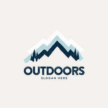 Modern retro vintage style snowy mountain logo