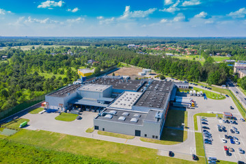 Aerial drone view on distribution center. Logistic and transport concept Fototapete