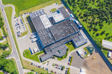 Aerial drone view on warehouse and logistic center. Logistic and transport concept Fototapete