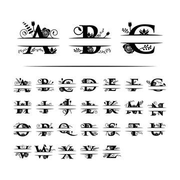 Decorative monogram split letter graphic design template isolated