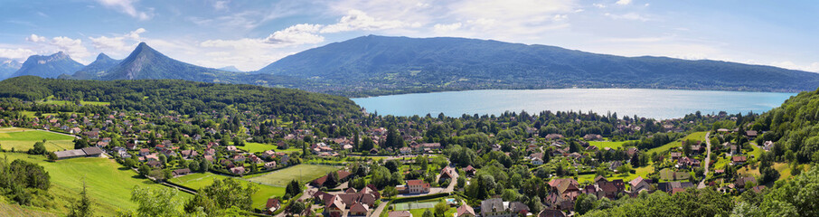 Tuinposter Bergen Scenic view of mountains and scattering houses from Menthon castle in Haute-Savoie
