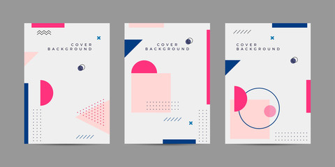 Placard templates set with Geometric shapes, Memphis geometric style flat and line design elements. Memphis art for covers, banners, flyers and posters. Eps10 vector illustrations
