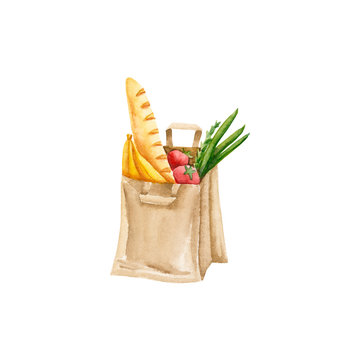 Watercolor paper bag with vegetables, fruits, bread. Illustration isolated on white. Hand drawn eco friendly shopping package perfect for trendy design, label, logo, postcard, wallpaper, icon, emblem