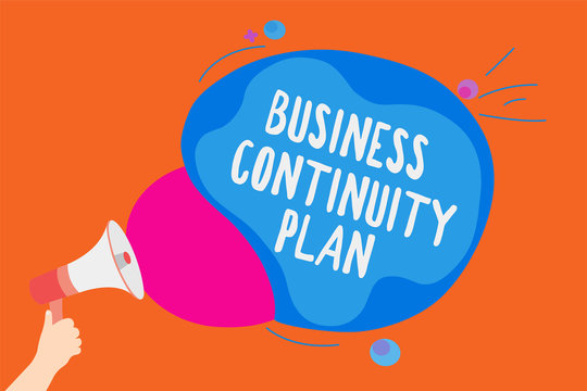 Writing note showing Business Continuity Plan. Business photo showcasing creating systems prevention deal potential threats Man holding Megaphone loudspeaker screaming colorful speech bubble