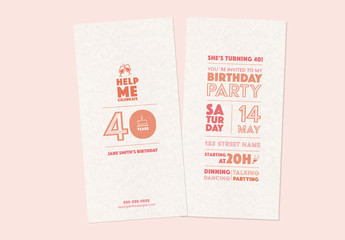 Birthday Card Layout with Peach Text and Illustrations