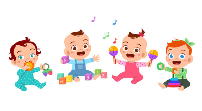 baby play together vector illustration