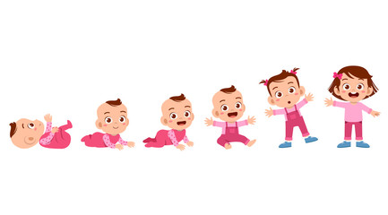 baby girl to toddler life cycle vector