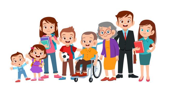 big family together vector illustration