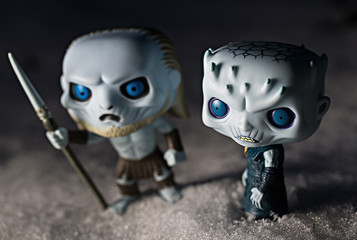 General view of Funko POPs featuring Game of Thrones characters the Night King and White Walker in Everett, Washington on February 20, 2019