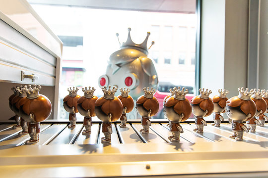General view of Freddy Funko manufacturing conveyor belt display at Funko Headquarters in Everett, Washington on  February 2, 2019