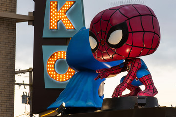 General view of Funko headquarters featuring giant Spiderman and Batman POP in Everett, Washington on February 3, 2019